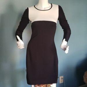 Maison Blanche Body Con Dress Black & White Sz M